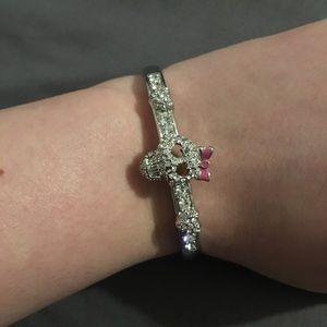 Betsey Johnson silver skull with bow bracelet